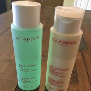 Clarins Paris cleanser and toner set $60 value